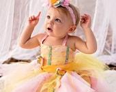 butterfly tea party dress, halloween costume, princess girl dress, ballerina dress, tu-tu, yellow pink first birthday dress