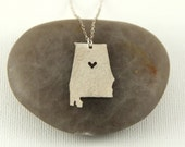 Silver Alabama State Necklace - I Heart Birmingham Necklace - Silver Alabama Necklace - Silver Alabama Pendant