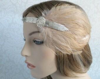 1920's Wedding, Flapper Headdress, 1920s Headpiece, Silver Art Deco Bridal Head Piece, Beige Feather Headband, Roaring 20s Wedding