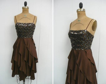 1980s Brown Gold Party Dress 80s Disco Metallic Sequins