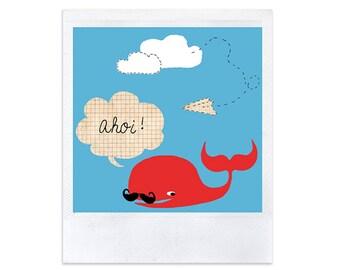 4 cute whale cards