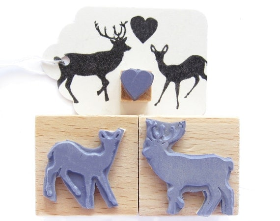 3 rubber stamps - IN THE FOREST