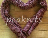 """Scarf - Handknit Twisted and Garter Stitch ~ """"Rose Garden"""" ~ Red, Pink and Green Multi Strand Cotton and Silk Yarn ~ Lightweight Multistrand"""