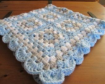 Crochet Baby Blanket, Crochet Boy Blanket, Baby Boy Blanket, Newborn Boy Blanket, Nursery Decor, Retro Blanket