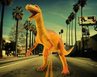 Terror on The Sunset Strip - Surreal Fine art photograph - Dinosaur -  Photo Print