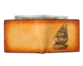 Credit Card Wallet - Mens Wallet - Engraved Wallet - Pirate Ship