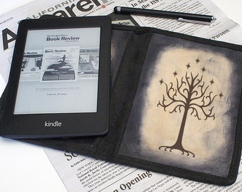 Kindle Leather Cover - White Tree of Gondor - Customizable - Free Personalization