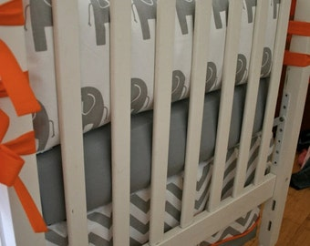 3pc. Made to Order Crib Bedding in Gray and White Elephants with Orange Accents