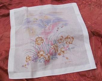 Beautiful White Floral Cotton Hankie Handkerchief - Signed - Unused