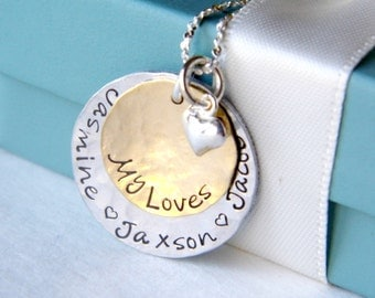 Personalized Mothers Necklace - Personalized Jewelry - Mom Jewelry - Grandmother Necklace - Hand stamped Necklace - custom jewelry -