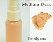 MEDIUM DARK Natural Liquid Makeup Foundation - For Sensitive and Acne Prone Skin Types - from OhSudz