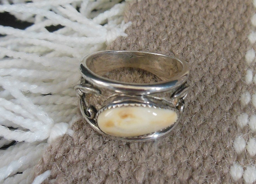 Elk Tooth Wide Band Ring
