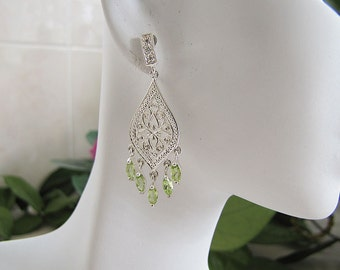 Detail Peridot Filigree Sterling Silver Drop Dangle Earrings