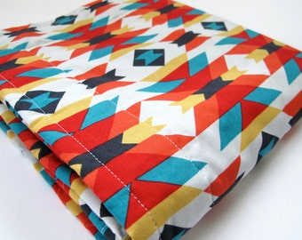Organic Baby Blanket - Geometric Design - Serape - Cloud 9 Enchanted Collection - Grey Minky Dot - 26 x 30