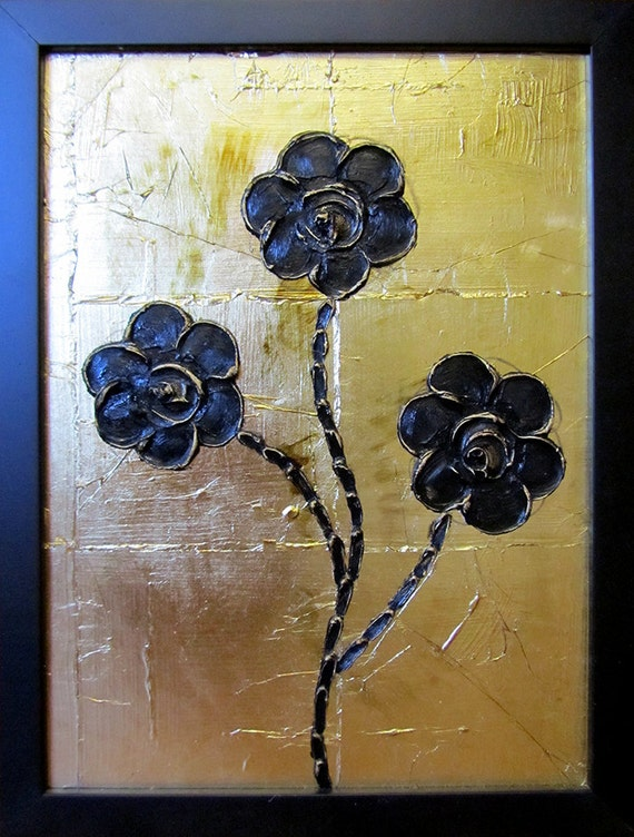 Items similar to black and gold flower acrylic painting for Acrylic painting on black background