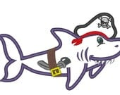 Pirate Shark - machine embroidery applique files multiple sizes for hoop 4x4 and 5x7 INSTANT DOWNLOAD