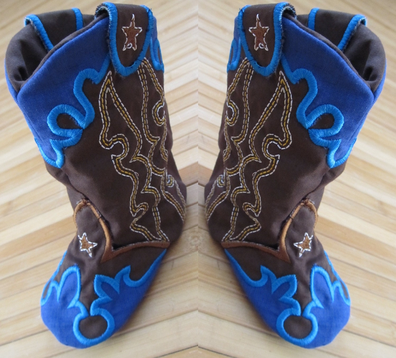Baby Cowboy boots In the hoop project machine embroidery
