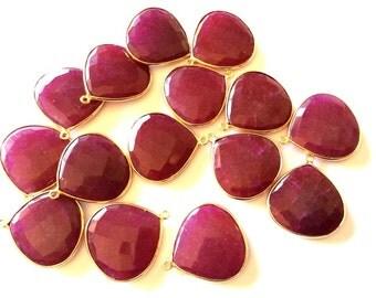 1 Pcs Ruby Coroundum Faceted heart shape Connectors Pendants, Bezel Set, Gold Vermeil...25mm Approx...