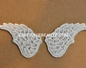 Wings Appliques Vintage Off White Venice Lace Embroidered Patches 2 Pairs