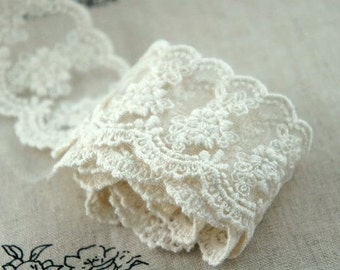Off White Lace Trim Cotton Floral Embroidered Tulle Lace Trim 1.96 Inches Wide 2 Yard