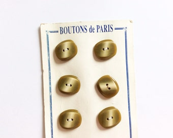 Vintage Olive Green Button card, French, Antique Collection