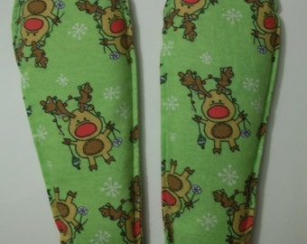 Foot Warmers Flax Seed Sock and Slipper inserts Reindeer with Lights