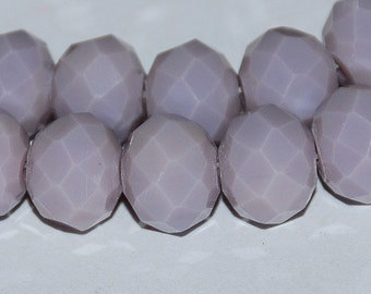 12 pcs 8x10mm Opaque Light Plum Lavender Faceted Rondelle Beads