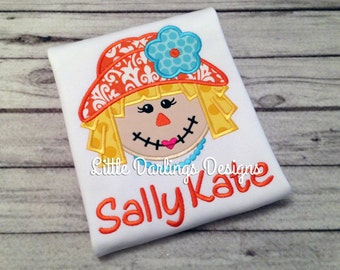 Fun Girls Scarecrow Appliqued and Personalized Shirt - Orange and Aqua