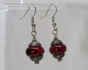 Red and Black Polka Dot  Earring