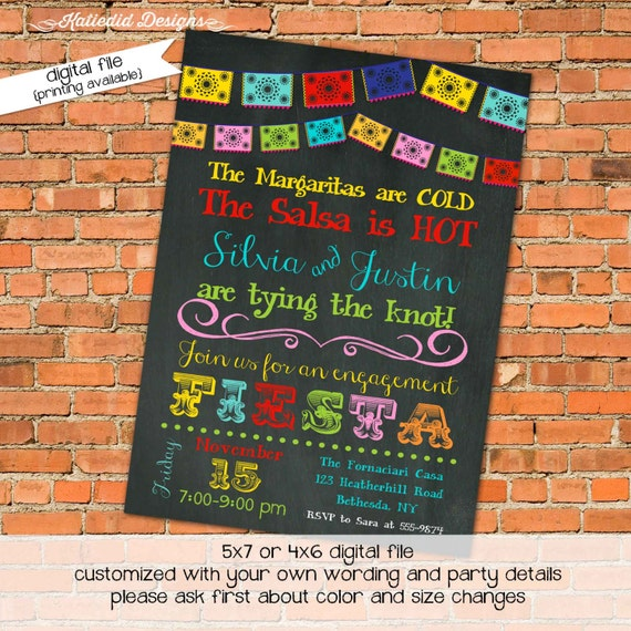 Fiesta Invitation Couples Shower Papel Picado By