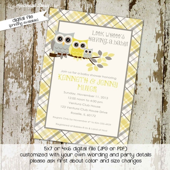owl baby shower invitation gender neutral gender reveal plaid couples diaper shower bring a book bash (item 1446) shabby chic invitations