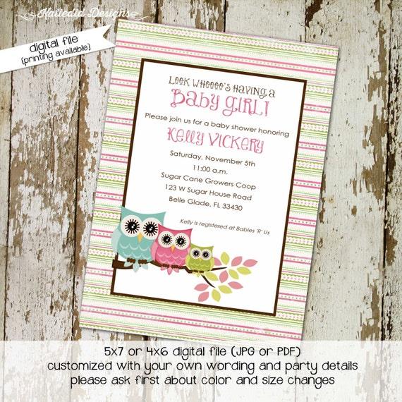 owl baby shower invitation owl first birthday baby girl shower Gender reveal invitation diaper shower (item 1332) shabby chic invitations