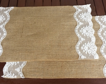 Burlap and lace place-mats - set of two