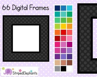 Polka Dot Square Digital Frames 2 - Clip Art Frames - Instant Download - Commercial Use