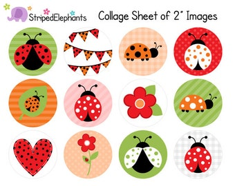 Lady Bug Digital Collage Sheets - 2 Inch Circle Images - Lady Beetle - Printable Cupcake Toppers - Instant Download
