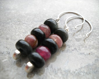 Black obsidian and pink tourmaline earrings: Gathered on the Banks - sterling silver, black pink gemstone earrings, tourmaline jewelry