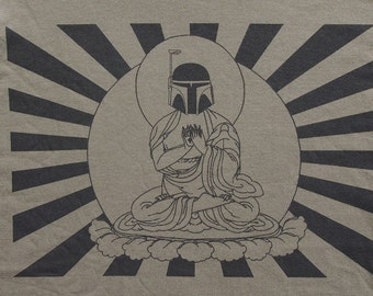 Mens Star Wars Bobba Fett Buddha- American Apparel army green T shirt- available in S, M, L, XL, 2XL- WorldWide Shipping