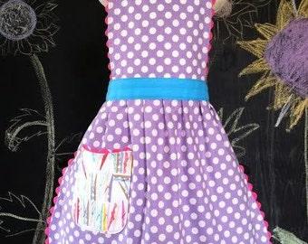 Kids Apron, Polka Dot Apron , Purple Apron, Toddler Apron 2T, 3-4 years