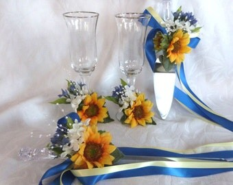 Sunflower with blue accents wedding Cake Service Set Bride and Groom Toasting Flutes 4 piece sunflower wedding set