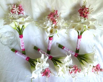 Calla lily with beauty pink lilacs and hydrangea cascading bridal wedding bouquet
