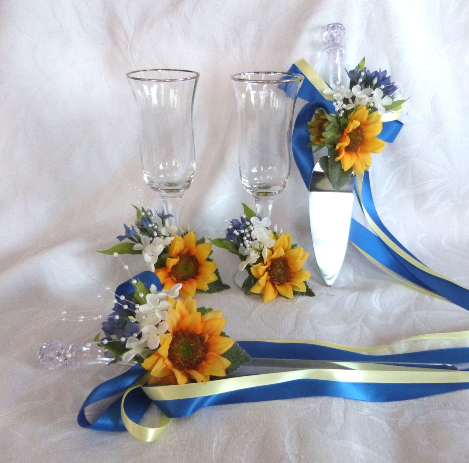 Sunflower with blue accents wedding Cake Service Set Bride and