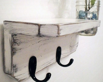 Primitive Wall Shelf with hooks and vase, Shabby Chic, French Country Cottage Distressed in WHITE can be customized in any color and hook