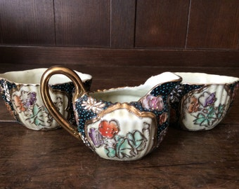Vintage Japanese creamer and condiment black gold jug bowl circa 1920's / English Shop