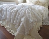 All white Lightweight KING queen twin XL coverlet summer blanket- top sheet natural woven Turkish cotton linen Shabby chic Ruffled bedding