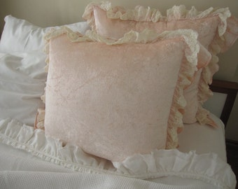 velvet ruffled euro sham pillow - Lovely tulle lace trim-decorative pillow cover, Pale pink, blue, ivory- shabby chic bedding home decor