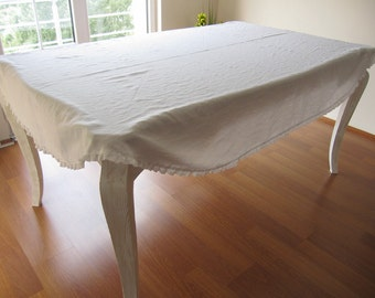 Lovely Custom Tablecloth Solid Linen Rectangle/oval Eyelet Lace Ruffle Shabby Chic  Country Table Decor/