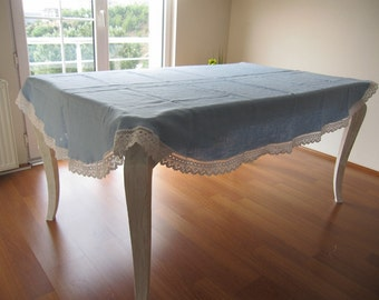 Solid colors Linen rectangle oval Table cloth cotton Lace trim shabby chic country home decor,Long custom tablecloth-white gray green blue