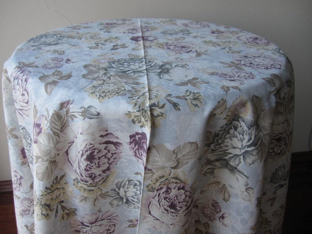 shabby chic nappe ronde floral canard lavande lin quadrill. Black Bedroom Furniture Sets. Home Design Ideas