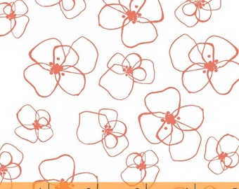 Mormor Coral Little Blomster on White by Lotta Jansdotter for Windham Fabrics