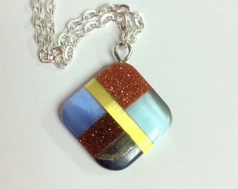 Mosaic pendant necklace - glass pendant on a Sterling silver filled chain - Free shipping to Canada & USA